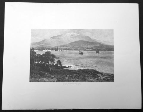 1886 Picturesque Australasia Large Antique Print View of Hobart, Tasmania