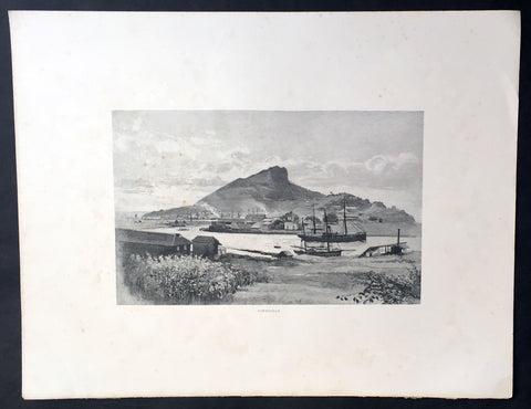 1886 Picturesque Australasia Large Antique Print View of Townsville, Queensland