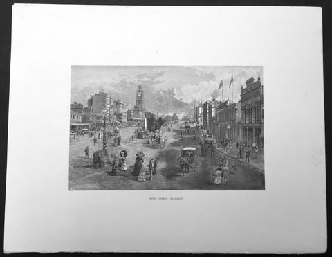 1886 Pic. Australasia Large Antique Print View of Ballarat, Victoria, Australia