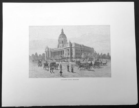 1886 Pic. Australasia Large Antique Print of Parliament House Melbourne Victoria