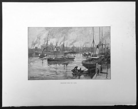 1886 Pic. Australasia Large Antique Print of Melbourne & Yarra River, Australia
