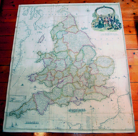 1761 John Rocque & Robert Sayer Very Large Antique Map of England & Wales