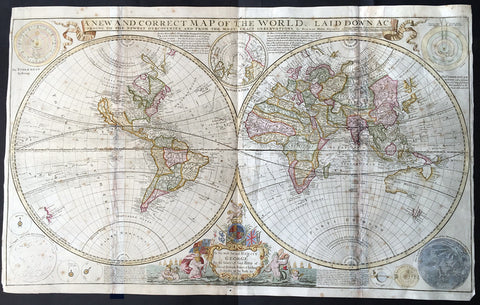 1712 Herman Moll Very Large Twin Hemisphere World Map