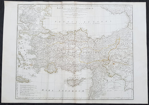 1764 J B D Anville Large Antique Map of Turkey, Cyprus, Syria, Black Sea