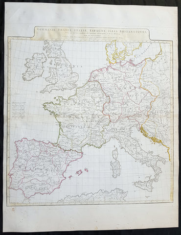 1771 J B D Anville Large Original Antique Map of Western Europe & Britain