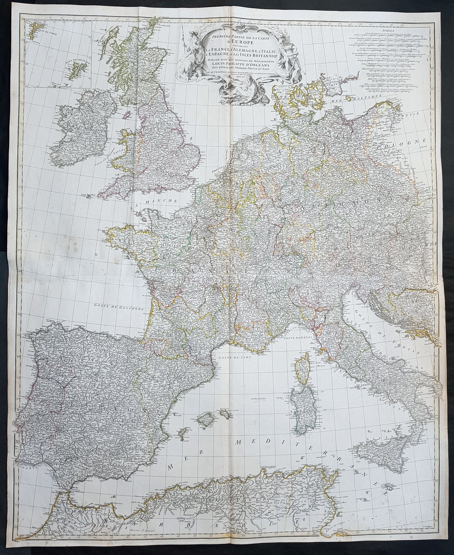 1754 D Anville Large Original Antique Map of Western Europe British Is –  Classical Images