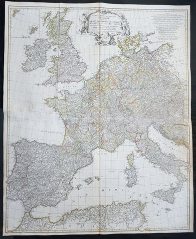 1754 D Anville Large Original Antique Map of Western Europe British Isles - Rare