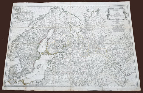1758 D Anville Very Large Antique Map of Norway Sweden Iceland, Baltics & Russia