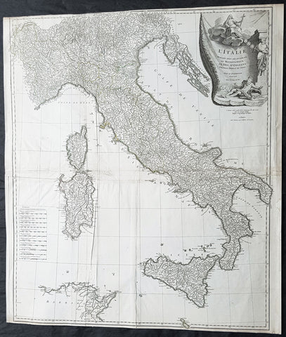 1743 D Anville & CA Coypel Large Antique Map of Italy, Sicily, Sardinia, Corsica