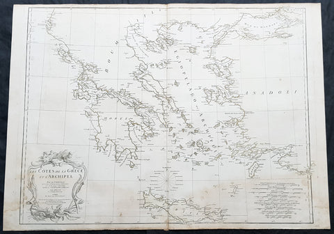 1756 D Anville Large Antique Map of Greece & The Aegean Islands & Crete