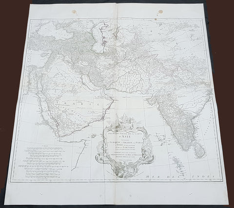 1751 D Anville Large Antique Map of West Asia - Saudi Arabia, Persia & India