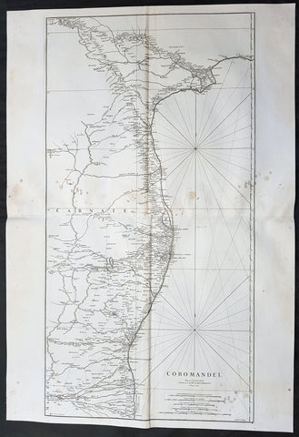1753 D Anville Large Original Antique Map of SE Coromandel Coast of India - Rare