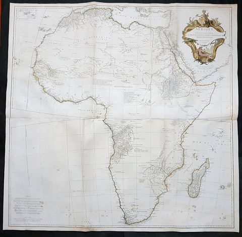 1759 J.B. D' Anville Large Original Antique Map of Africa - Fantastic