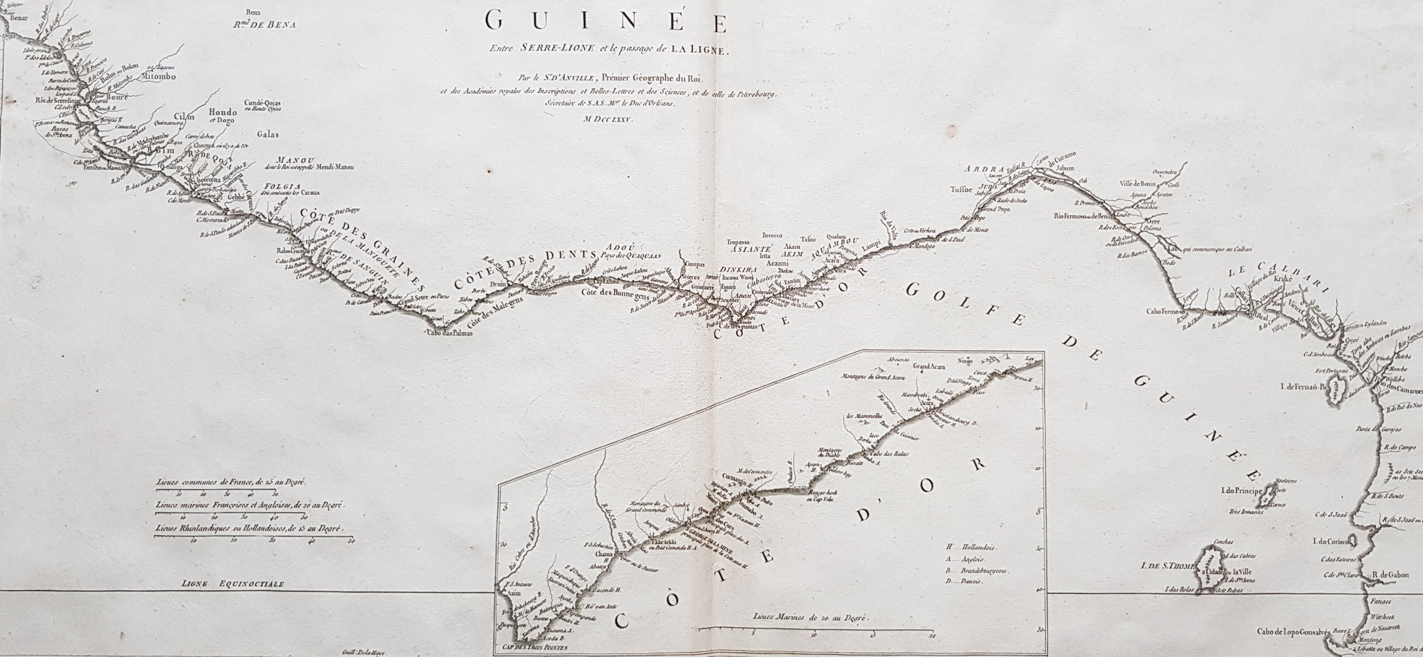 Liberia On Africa Map.1775 J B D Anville Large Antique Map Gulf Of Guinea West Africa