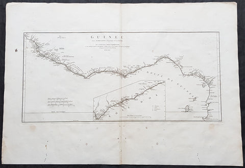 1775 J B D Anville Large Antique Map Gulf of Guinea West Africa Liberia to Gabon