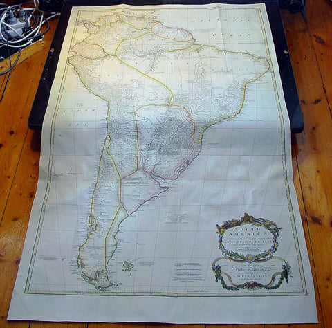 1755 Thomas Bowen & D' Anville Large Antique Map of South America
