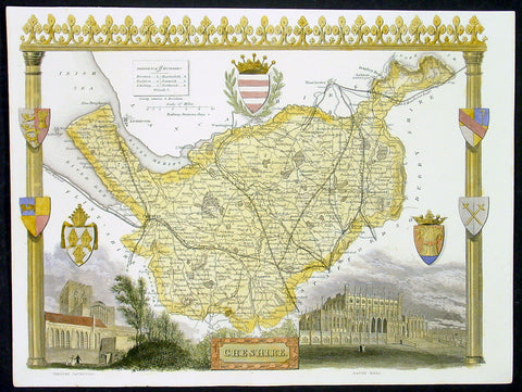1836 Moule Antique Map The English County of Cheshire