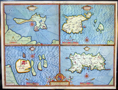 1611 Speed Antique Map of the British Islands of Holy, Farne, Jersey & Guernsey