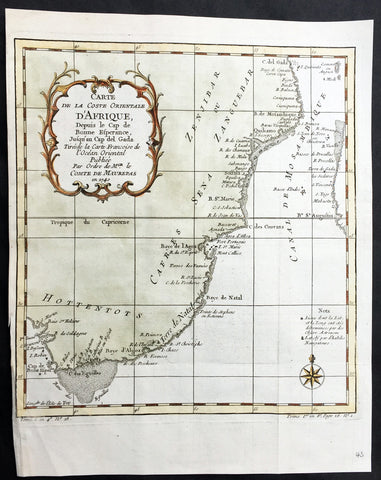 1740 Bellin Antique Coastal Map of South East Africa - South Africa to Zanzibar