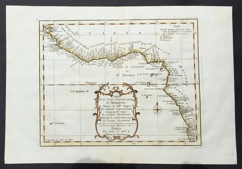 1739 Bellin Original Antique Map The West Coast of Africa - Senegal to Cameroon