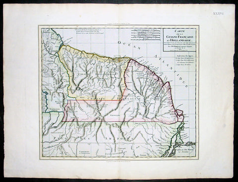 1802 Poirson Large Antique Map of French & Dutch Guyana
