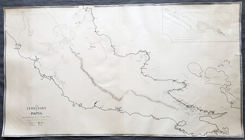 1930 Evan Gill Antique Map of Missions in PNG - Brother to Eric & MacDonald Gill - Unique