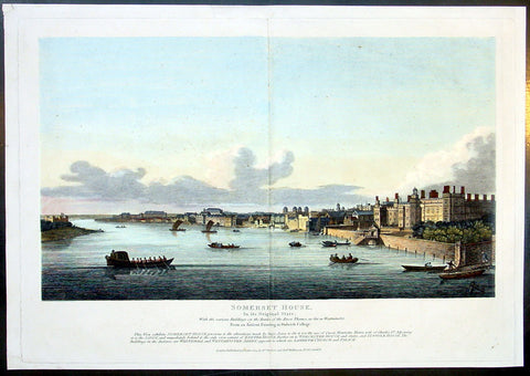 1809 Wilkinson Large Antique Print of London, Somerset to Whitehall, Westminster