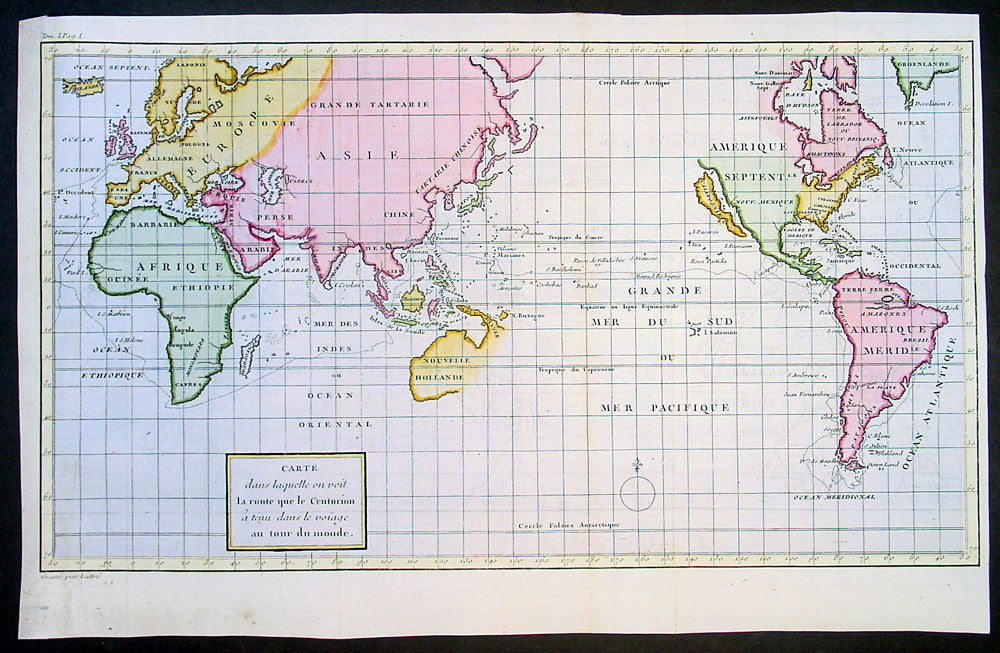 1750 Admiral George Anson Lattre Large Antique World Map