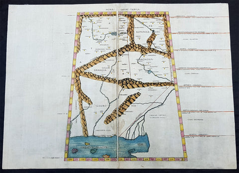 1478 Ptolemy & Buckink Antique Map of Afghanistan, Pakistan, India - Oldest Map on the Market
