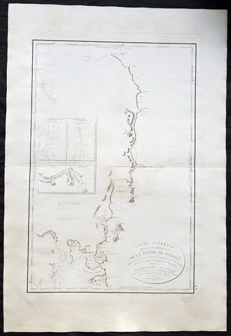 1802 Louis de Freycinet Large Antique Map of East Coast of Van Diemens Land, Tasmania - Rare