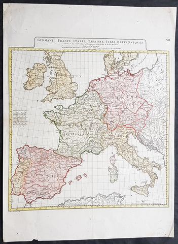 1782 D Anville Large Antique Map of Germany France UK Spain & Italy Roman Europe