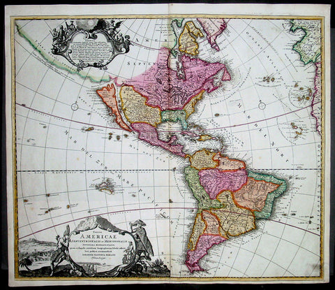 1710 Homann Antique Map of America