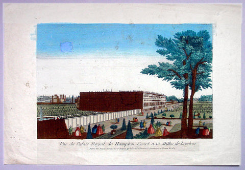 1760 Vue D Optic Antique Print View of Hampton Court Palace, Richmond London