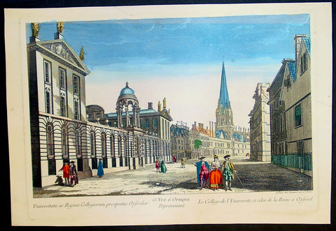 1780 Vue D Optic Antique Print of Queens College Oxford University, England