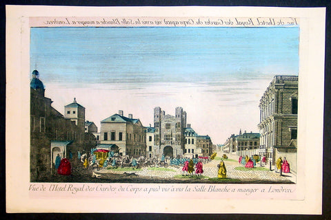 1780 Vue D Optic Antique Print Royal Household Cavalry Procession in London