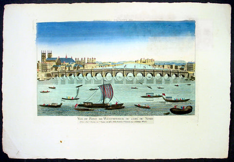 1780 Vue d' Optic Antique Print of Westminster, River Thames, Tower of London