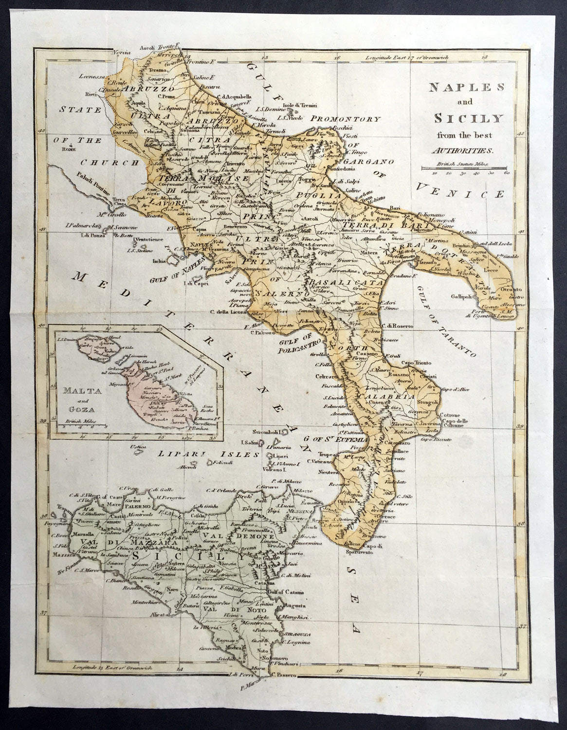 1799 Cary Moores Old Antique Map Of Southern Italy Sicily Malta