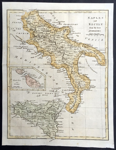 1799 Cary, Moores Old, Antique map of Southern Italy Sicily - Malta & Goza Isles