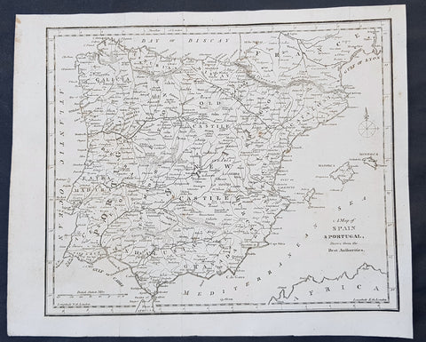 1797 John Cary Original Antique Map of Spain, Portugal & The Balearic Islands
