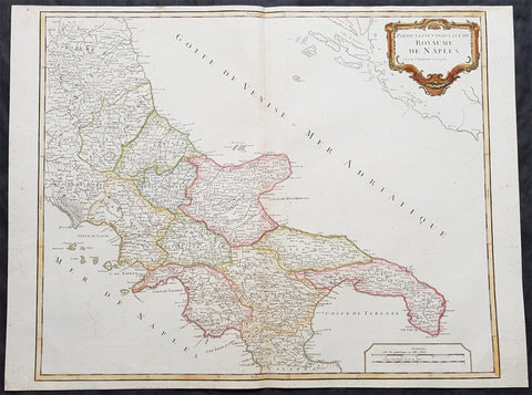1757 Robert De Vaugondy Large Antique Map Southern Italy Mezzogiorno, 2 Sicilies