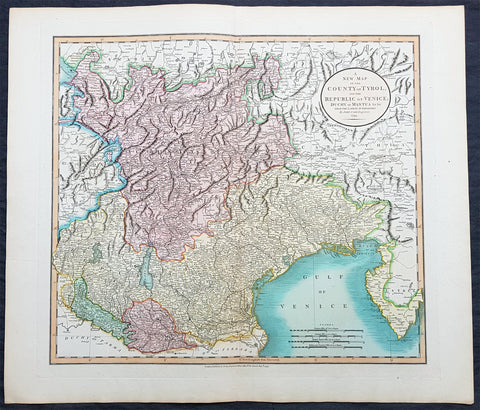 1799 John Cary Large Antique Map The Republic of Venice w/ Tyrol & Mantua Italy