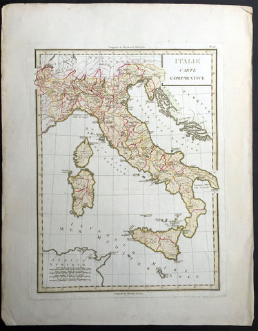 1765 Tardieu Large Antique Map of Italy