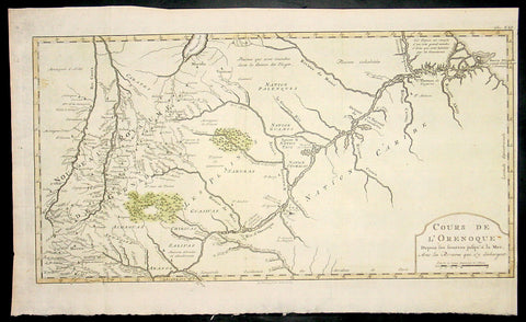1773 Bellin Antique Map The Course of the Orinoco River South America