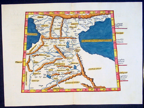 1541 Fries Ptolemaic Antique Map of the Caucasus - Georgia, Armenia, Azerbaijan