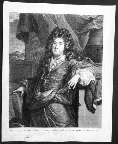1695 Cornelis Vermeulen Antique Print Portrait, Map-Maker Alexis Hubert Jaillot