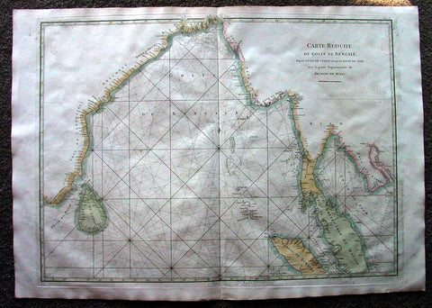1775 De Mannevillette Antique Map of Bay of Bengal, India