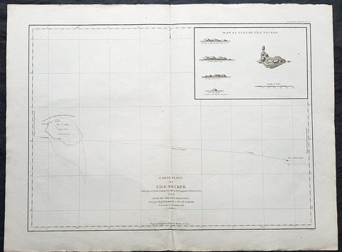 1797 Laperouse Large Antique Map of Necker Island Mokumanamana Hawaii - Menehune