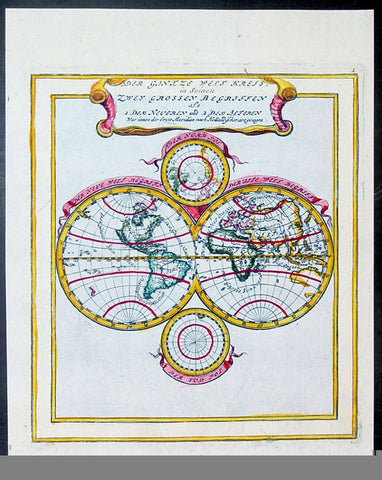 1704 Bodenehr Antique Twin Hemisphere World Map, California as an Island