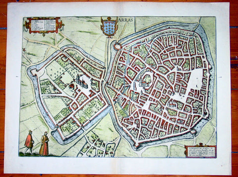 1575 Braun & Hogenberg Large Antique Map of the City of Arras, France