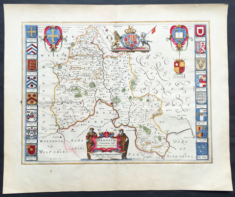 1647 Joan Blaeu Antique Map of the English County of Oxfordshire, Beautiful